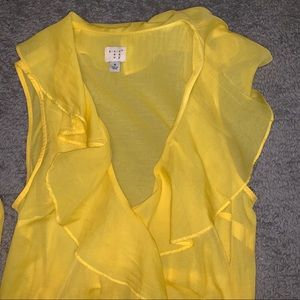 A New Day Size M Yellow Wrap Blouse